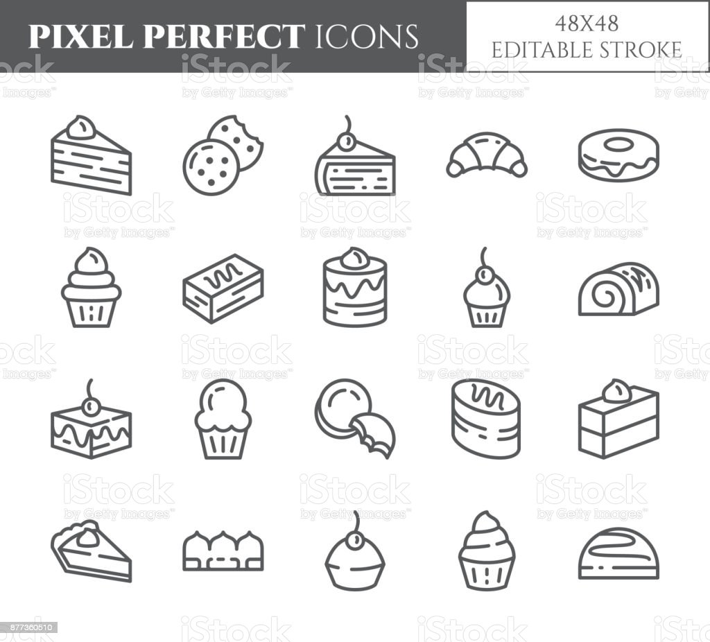 Cakes and cookies theme pixel perfect thin line icons. Set of elements of pie, brownie, biscuit, tiramisu, roll and other dessert related pictograms. 48x48 pixels. Editable stroke vector art illustration