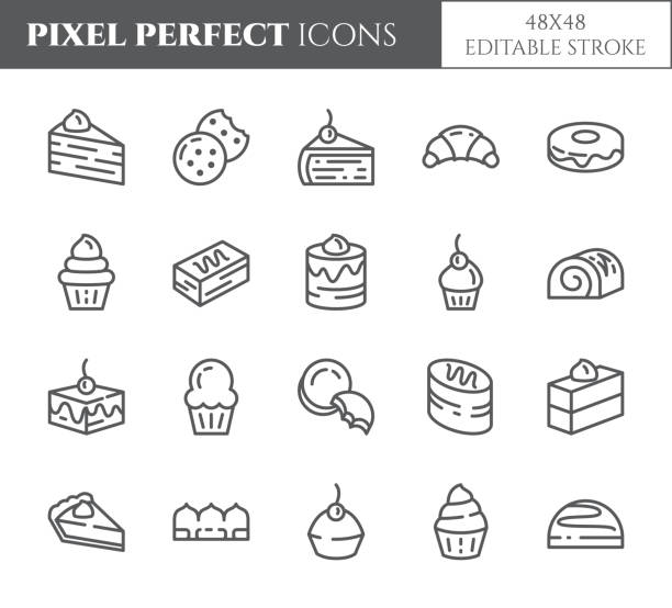 ilustrações de stock, clip art, desenhos animados e ícones de cakes and cookies theme pixel perfect thin line icons. set of elements of pie, brownie, biscuit, tiramisu, roll and other dessert related pictograms. 48x48 pixels. editable stroke - bolo de bolacha