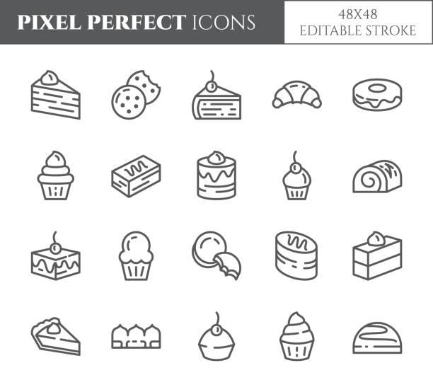 ilustrações de stock, clip art, desenhos animados e ícones de cakes and cookies theme pixel perfect thin line icons. set of elements of pie, brownie, biscuit, tiramisu, roll and other dessert related pictograms. 48x48 pixels. editable stroke - bolinho