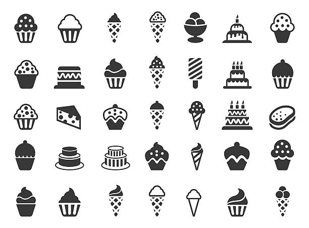cakes and cupcakes icon set - vanillesauce stock-grafiken, -clipart, -cartoons und -symbole