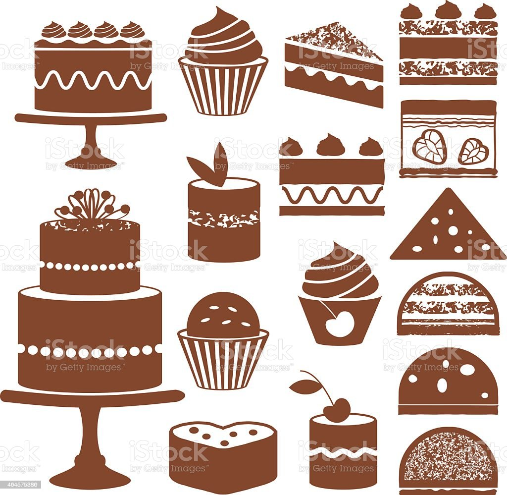 Cakes And Cupcakes Silhouette Icons stock vector art ...