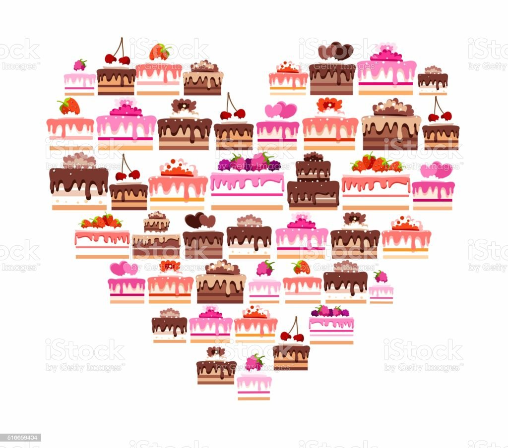Cakes and pastries, colored, in the shape of a heart. vector art illustration