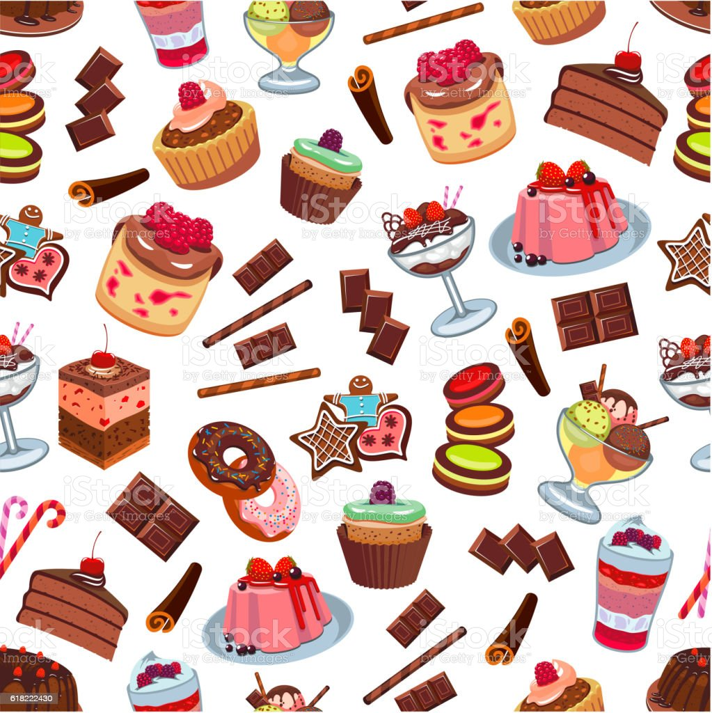 Cakes and patisserie desserts seamless pattern vector art illustration