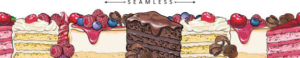 Cakes and pies horizontal seamless border pattern in sketch style. Cakes and pies horizontal seamless border pattern in sketch style - beautiful frame with hand drawn bakery product with fruits and berries. Vector illustration of bright footer with sweet desserts. cake borders stock illustrations