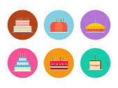 Cakes and pies vector set isolated from the background in a flat style. Colorful Icons of Wedding cakes and birthday chocolate and fruit. Bakeries and confectionery products.