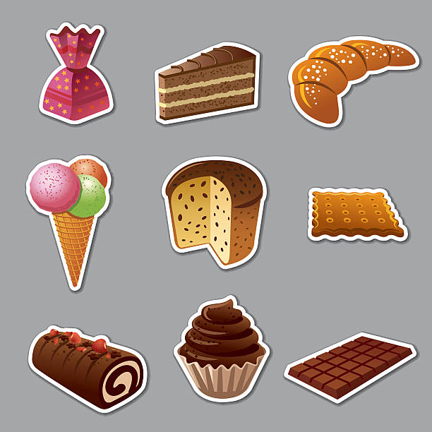 illustrazioni stock, clip art, cartoni animati e icone di tendenza di cakes and sweets stickers - panettone