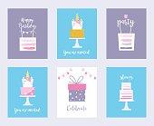 Cakes and Unicorns. Birthday Cards, Shower Invitations