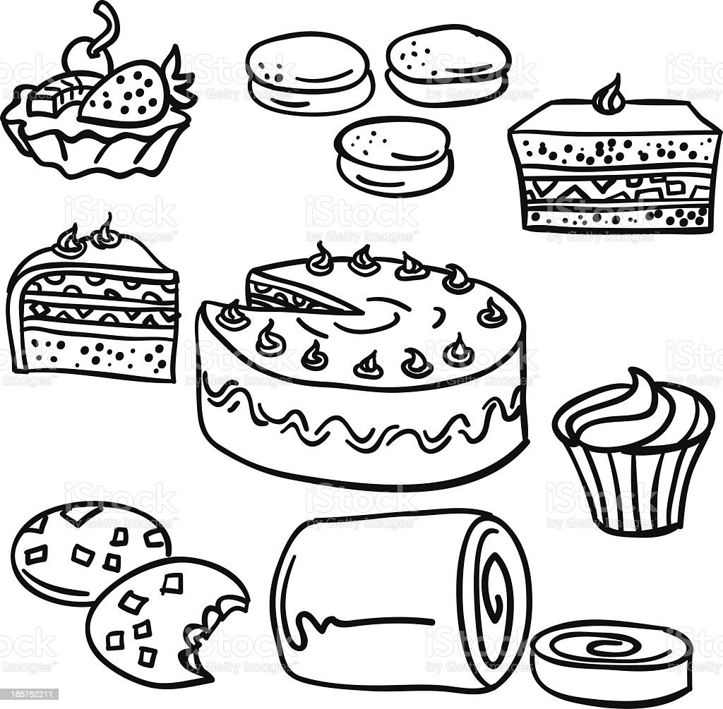 Cake Clipart Images Black And White : Cakes Collection In Black And White stock vector art ...