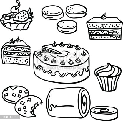 istock Cakes collection in black and white 165752211