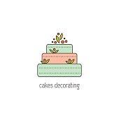 Cakes decorating line icon