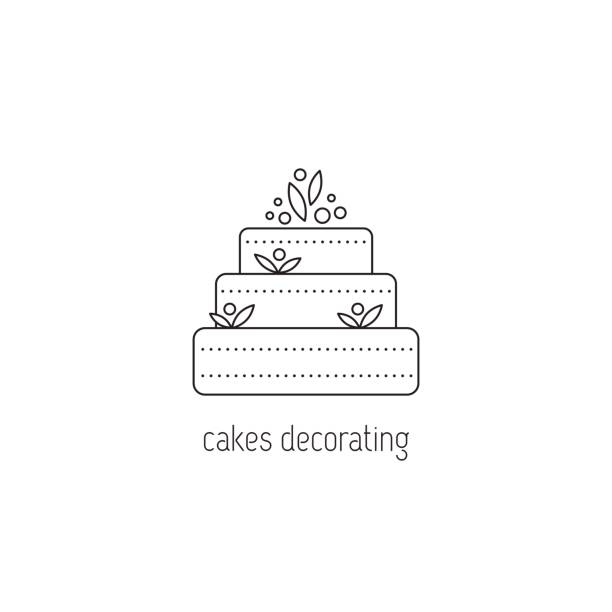 Cakes decorating line icon Cakes decorating vector thin line icon. A big cake. Black on white isolated symbol.  template, element for business card or workshop announcement. Simple mono linear modern design. wedding cake stock illustrations