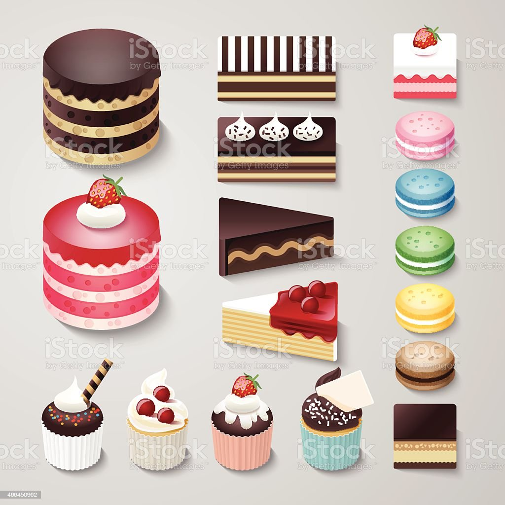 Cakes flat design dessert bakery vector set / illustration vector art illustration