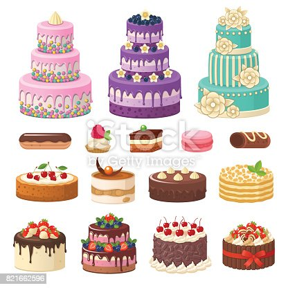 Vector illustration of different types of beautiful modern cakes, such as chocolate cake, Napoleon cake, tiramisu, Sacher, eclair and cheesecake. Isolated on white.