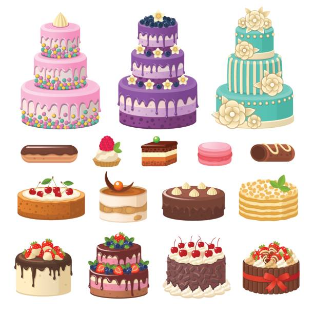 Cakes icons collection. Vector illustration of different types of beautiful modern cakes, such as chocolate cake, Napoleon cake, tiramisu, Sacher, eclair and cheesecake. Isolated on white. cake stock illustrations