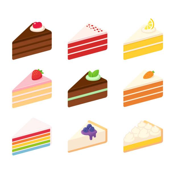 zestaw ilustracji ciast - ciasto stock illustrations