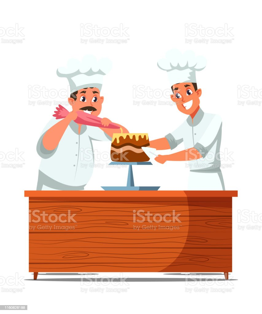 Cakes making process flat vector illustration Cakes making process flat vector illustration. Cheerful professional confectioners in uniform cartoon characters. Confectionery, bakery kitchen. Happy cooks decorating delicious dessert with cream Adult stock vector