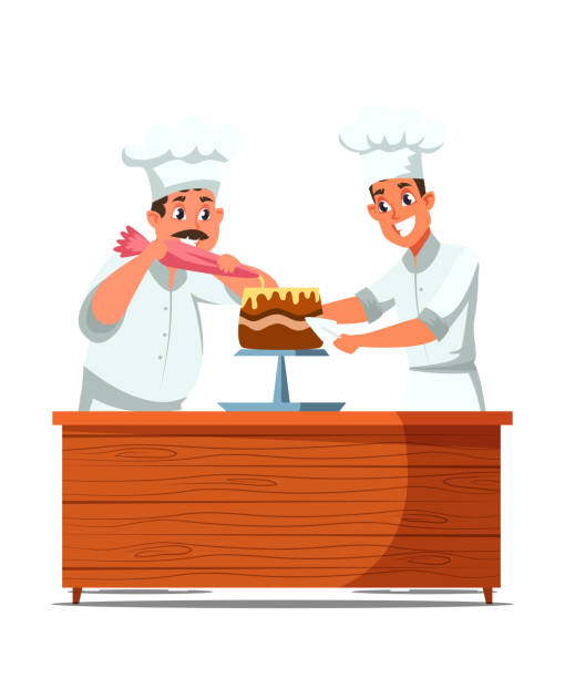 Cakes making process flat vector illustration Cakes making process flat vector illustration. Cheerful professional confectioners in uniform cartoon characters. Confectionery, bakery kitchen. Happy cooks decorating delicious dessert with cream decorating a cake stock illustrations