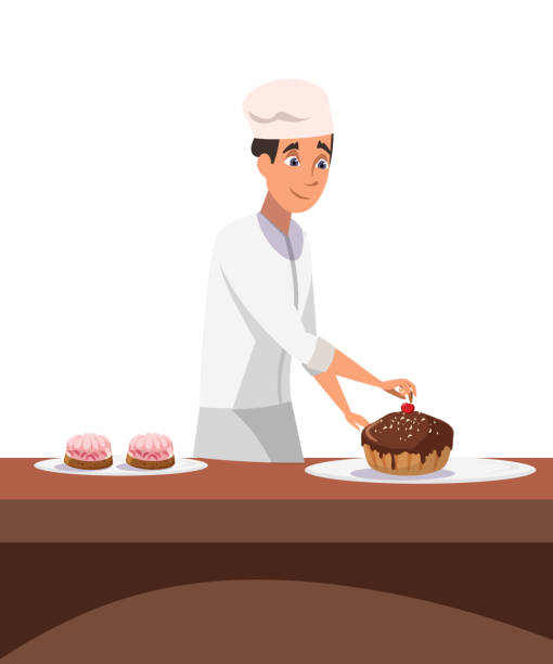 Cakes making process flat vector illustration Cakes making process flat vector illustration. Cheerful professional confectioner in uniform cartoon character. Confectionery, bakery kitchen. Happy cook decorating delicious dessert with cherry decorating a cake stock illustrations