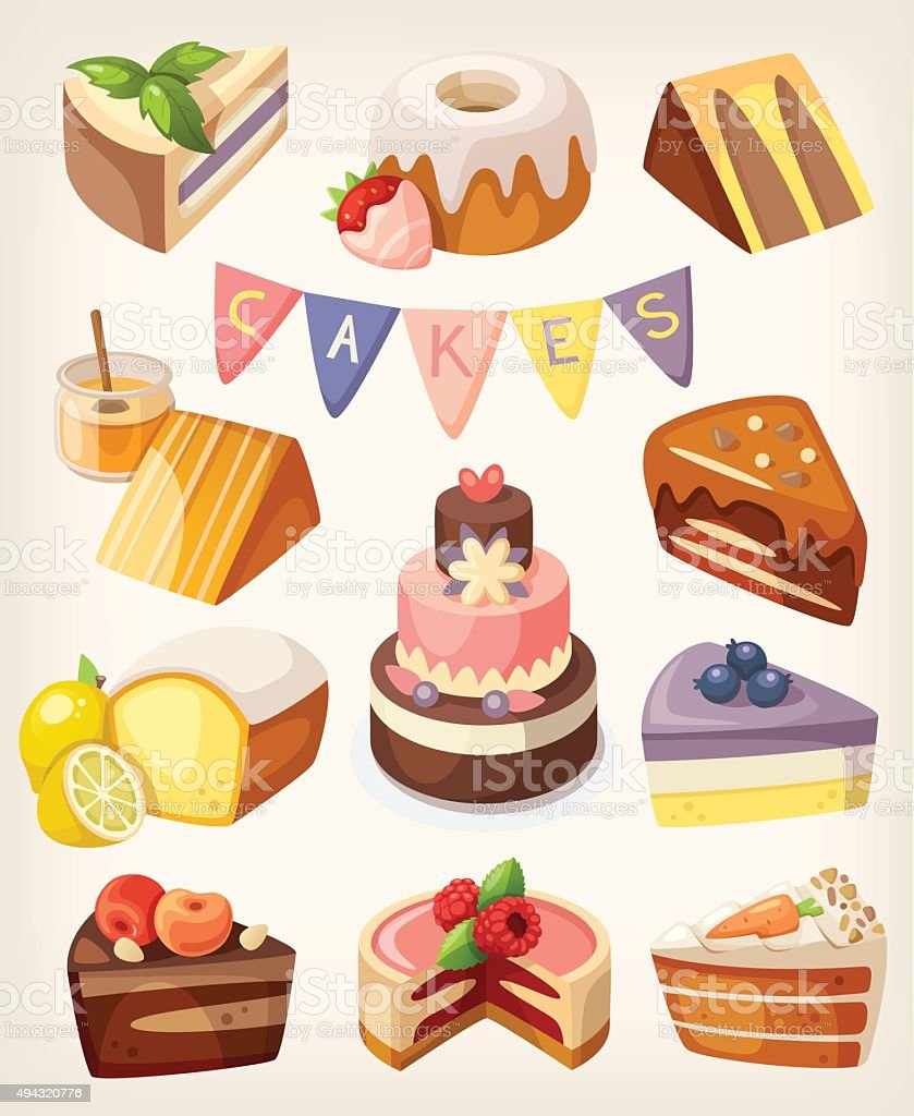 Cakes nd pies vector art illustration