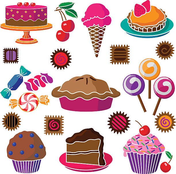 cakes pies and candy vector art illustration