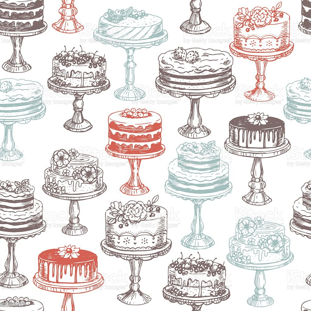 Cakes seamless pattern. Vector illustration