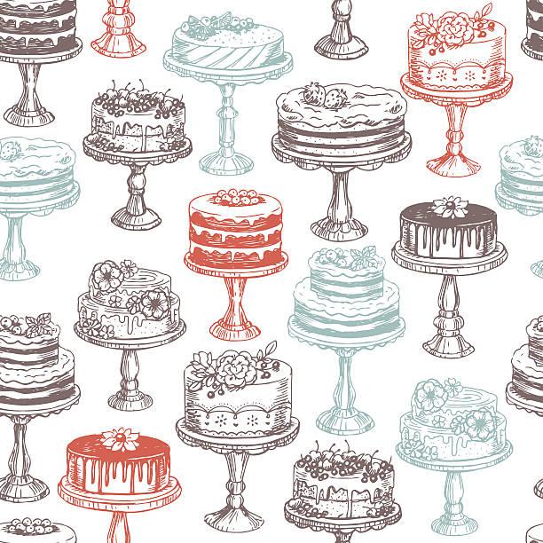 торты бесшовный узор. векторная иллюстрация - cake stock illustrations