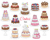Cakes set, vector hand drawn colorful doodle illustration. Different types of tasty cakes. Birthday, wedding, cherry, strawberry and chocolate cakes collection, isolated on white background.