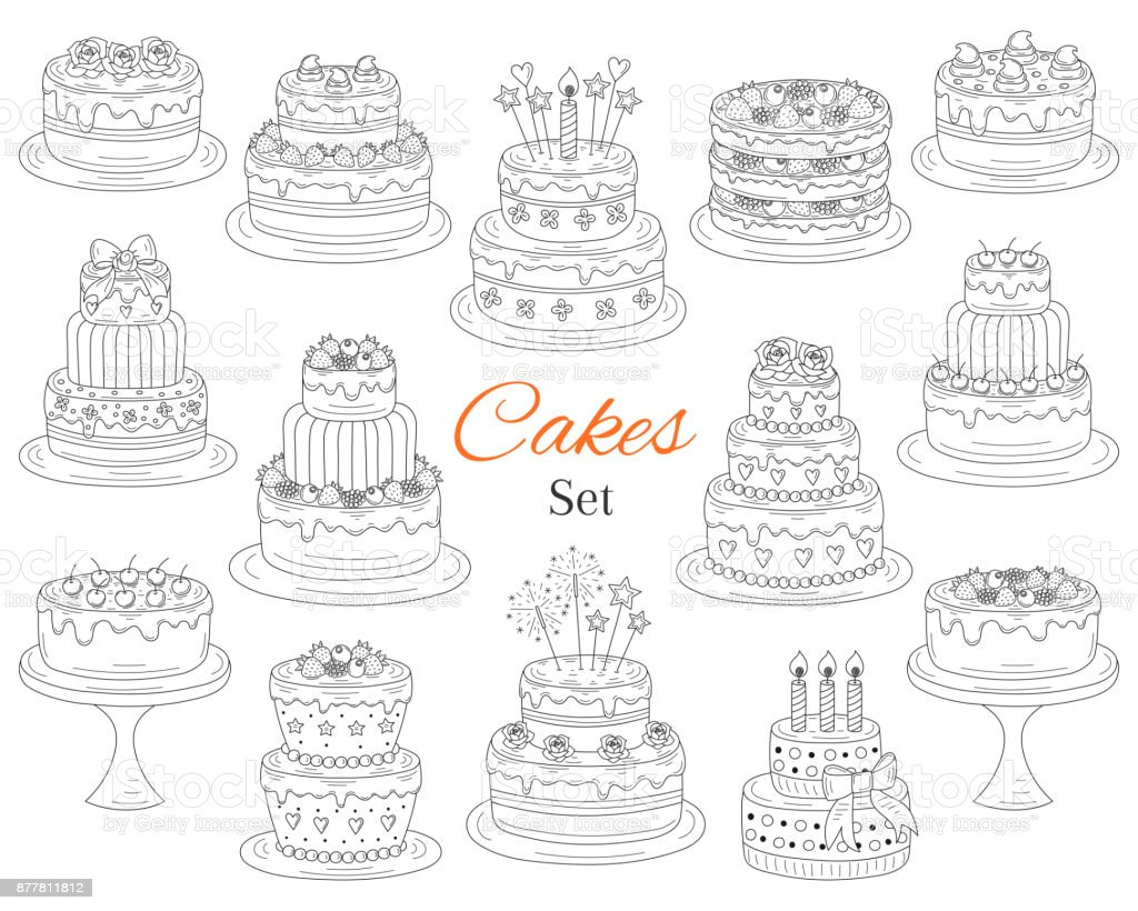 Jeu de gâteaux, vector illustration de doodle dessinés à la main - Illustration vectorielle