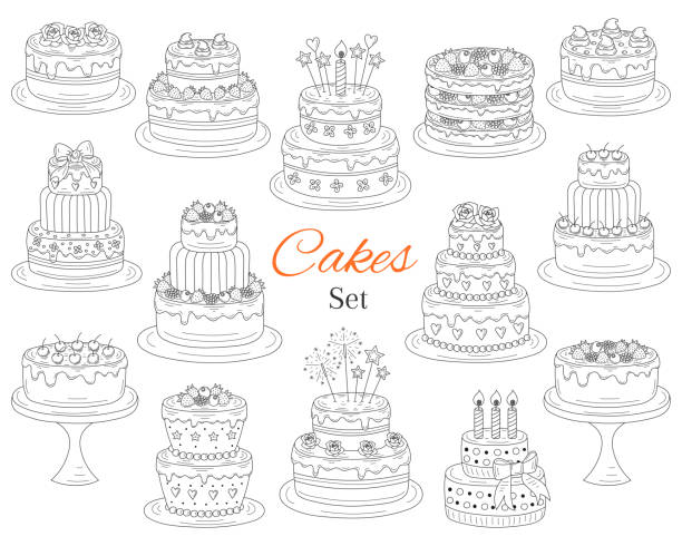 Cakes set, vector hand drawn doodle illustration Cakes set, vector hand drawn doodle illustration. Different types of tasty cakes. Birthday, wedding, cherry, strawberry and chocolate cakes collection, isolated on white background. wedding cake stock illustrations