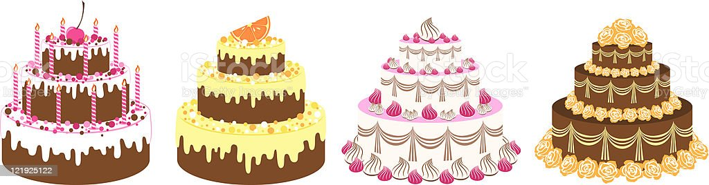 Cakes set vector art illustration