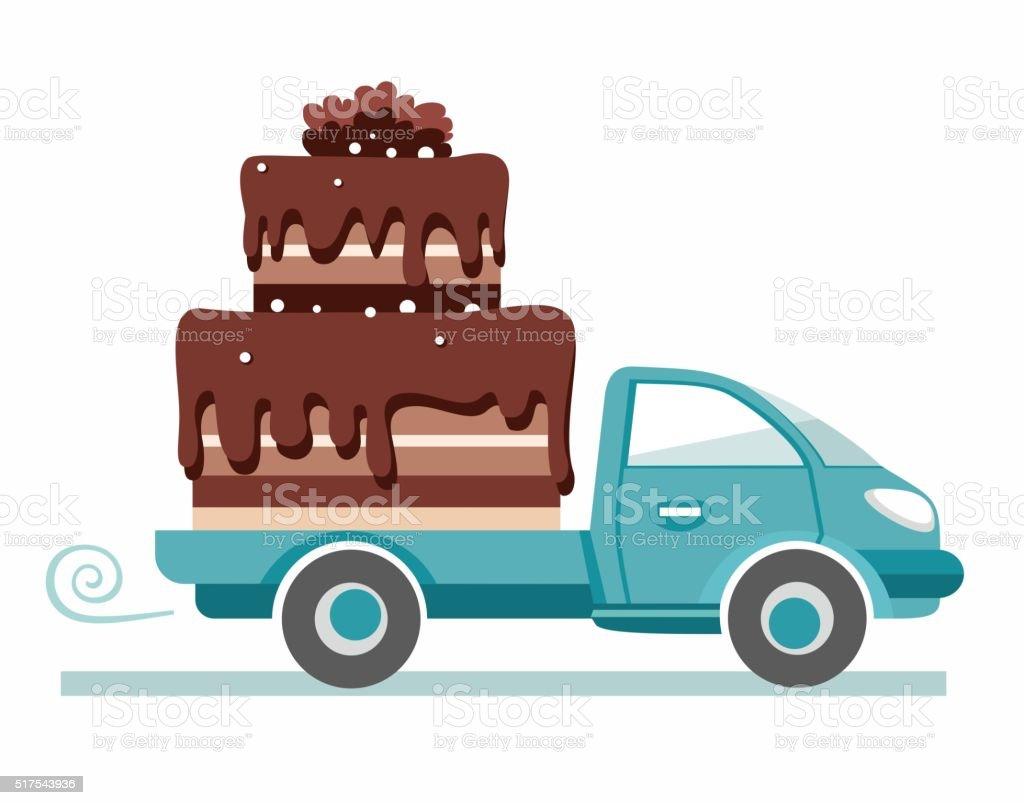 Kuchen Transport Vektorbild Stock Vektor Art Und Mehr Bilder Von