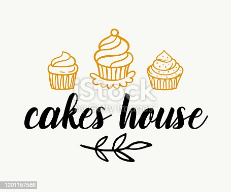 istock Cakes shop logotype template, sweet bakery badge label 1201157586