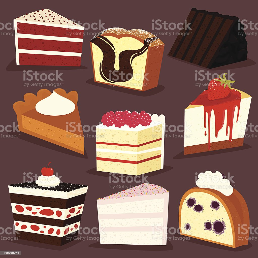 Cakes slices icon set - EPS8 vector art illustration