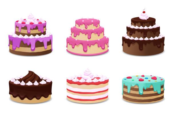 zestaw wektorów ciast. ikony na białym tle - ciasto stock illustrations
