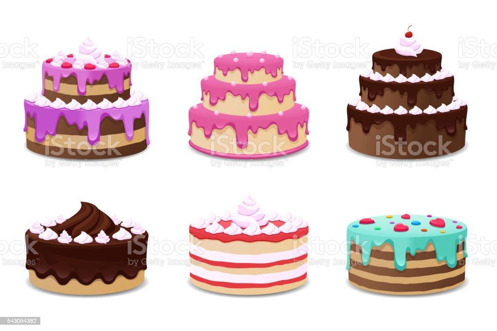 Cakes vector set. Icons on white background vector art illustration