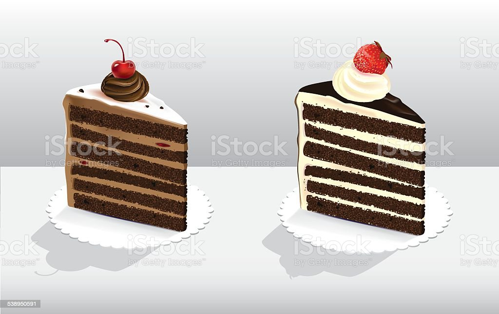Cakes with berries vector art illustration