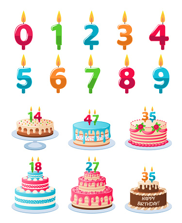 Cakes with candle numbers. Anniversary birthday cake with candles, colorful delicious desserts, celebration chocolate cupcakes vector set