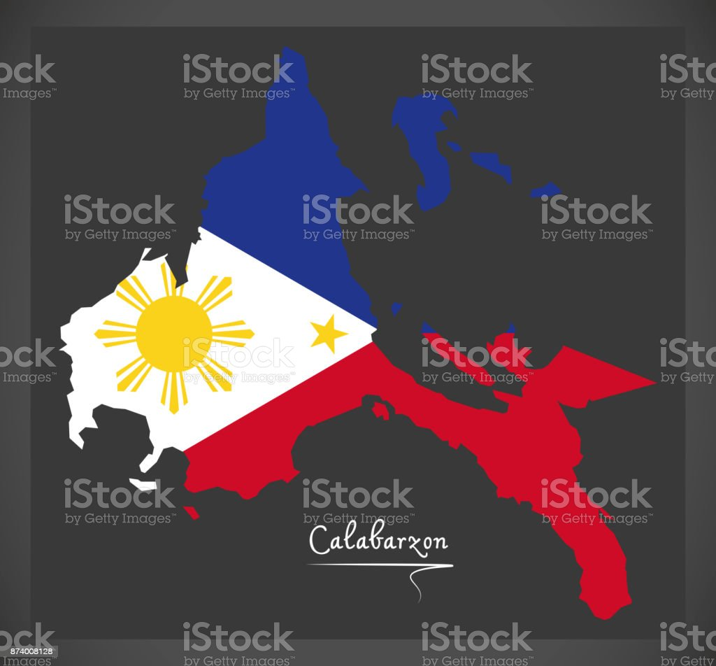 Calabarzon map of the Philippines with Philippine national flag illustration vector art illustration