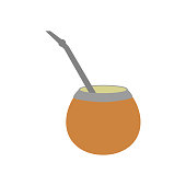 Calabash mate drink on the white background. Vector illustration