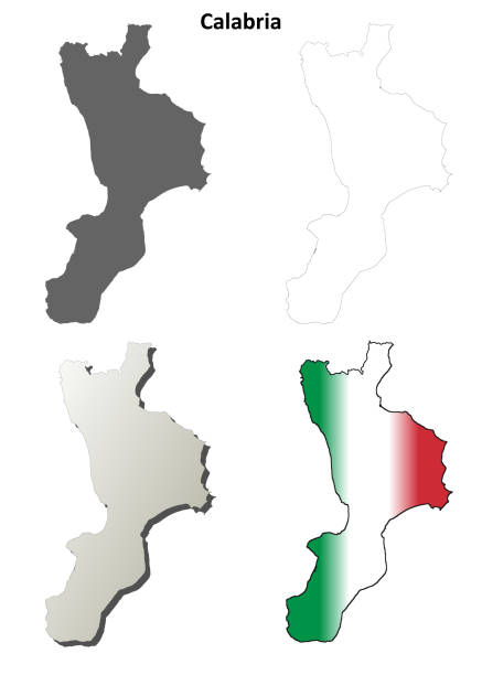 Calabria blank detailed outline map set Calabria region blank detailed outline map set reggio calabria stock illustrations