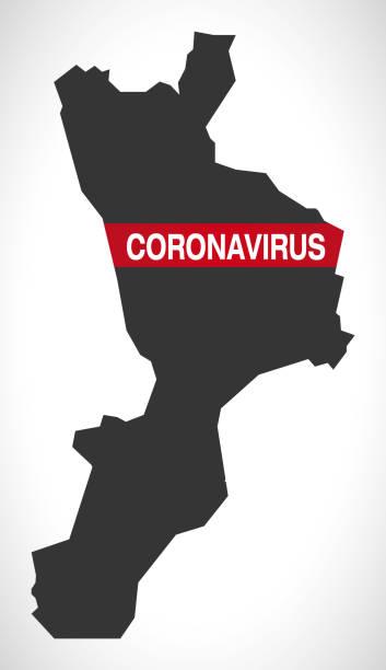 illustrazioni stock, clip art, cartoni animati e icone di tendenza di calabria italy region map with coronavirus warning illustration - calabria