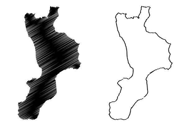 Calabria map vector Calabria (Autonomous region of Italy, Bruttium) map vector illustration, scribble sketch Calabria map calabria stock illustrations