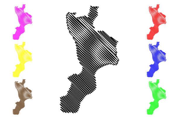 illustrazioni stock, clip art, cartoni animati e icone di tendenza di calabria map vector - calabria