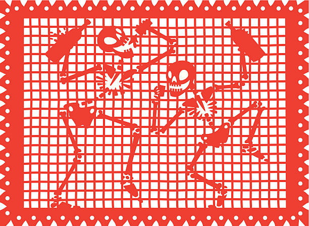 Calacas Borrachas (Cut out paper) vector art illustration