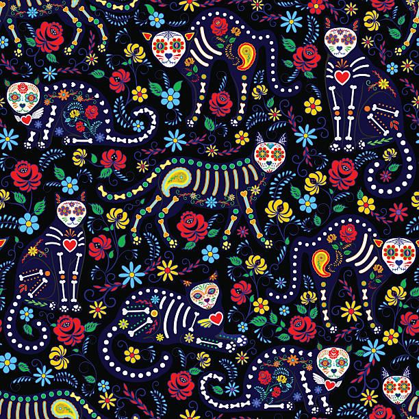 calavera cats and sugar skills Seamless pattern with calavera cats and sugar skills for Day of the Dead, Dia de los Muertos cat skeleton stock illustrations