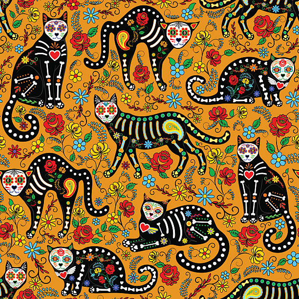 calavera cats seamless Seamless pattern with calavera sugar skull black cats in mexican style for holiday the Day of the Dead, Dia de Muertos cat skeleton stock illustrations