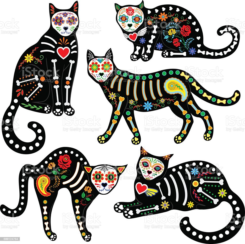 calavera cats set vector art illustration