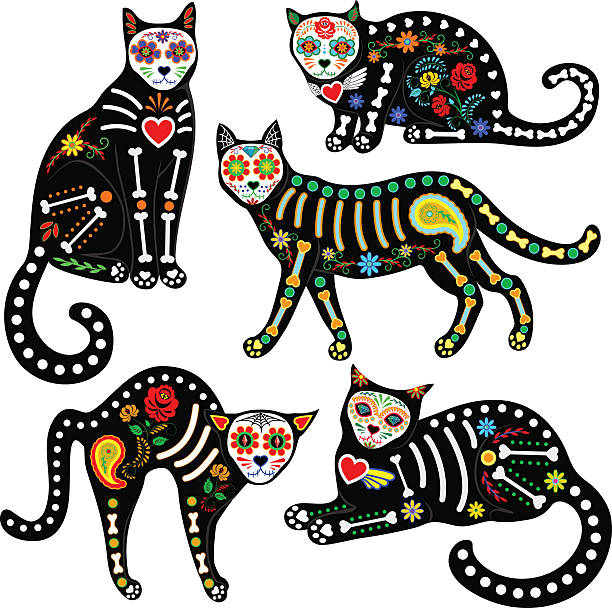 calavera cats set Set of calavera sugar skull black cats in mexican style for holiday the Day of the Dead, Dia de Muertos cat skeleton stock illustrations