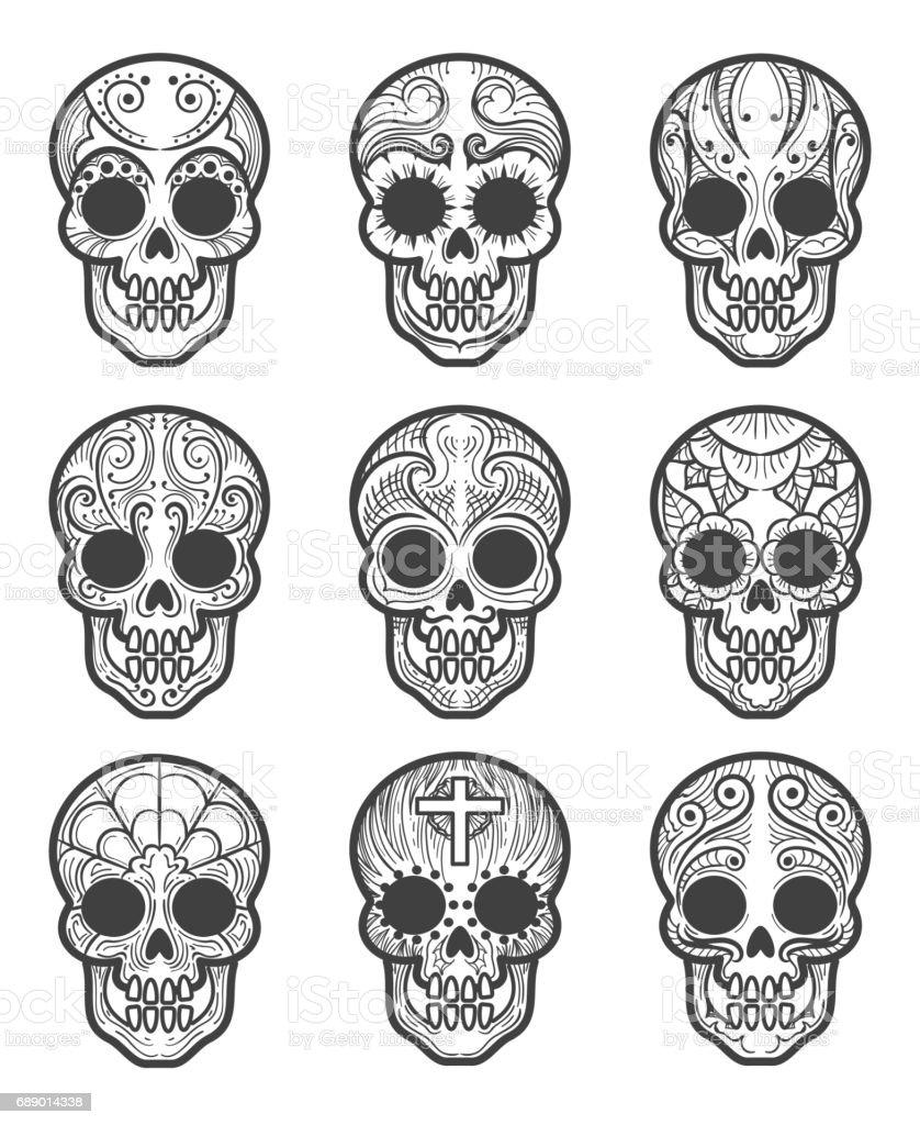 Calavera or sugar skull tattoo set vector art illustration
