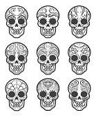 Calavera or sugar skull tattoo set